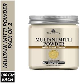 Bon Austin 100% Pure & Natural Multani Mitti Powder Combo Pack of 2 Jars of 100 g each