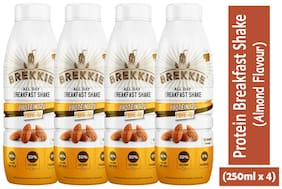 BREKKIE Protein Breakfast Shake Almond Flavour, Pack of 4 - 250ml x 4