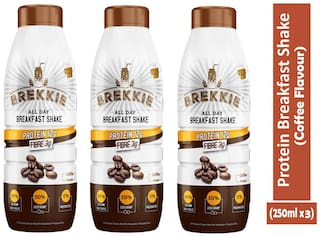 BREKKIE Protein Breakfast Shake Coffee Flavour, Pack of 3 - 250ml x 3