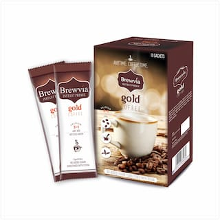 Brewvia Premix Instant Coffee Powder - Coffee Sachets With Stevia - Natural Energy Health Drink - Hot & Cold Coffee Powder 150g (Pack of 1)