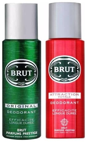 Brut Deodrants(Original and Attraction Totalle)200 ml each(Pack of 2)