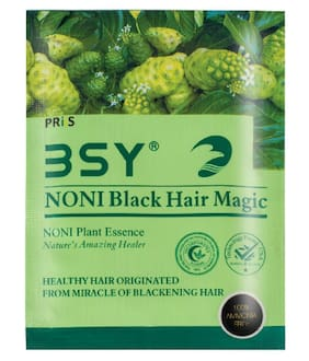 BSY Noni Black Hair Magic  Hair Dye  Hair Colour  Shampoo (20ml X 12 Sachet)