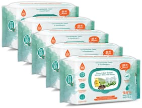 Buddsbuddy Combo of 5 Cucumber Based Skincare Baby Wet Wipes - 80 pcs
