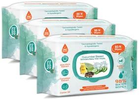 Buddsbuddy Combo of 3 Cucumber Based Skincare Baby Wet Wipes - 80 pcs