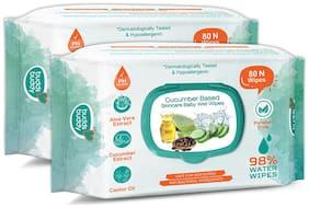 Buddsbuddy Combo of 2 Cucumber Based Skincare Baby Wet Wipes - 80 pcs