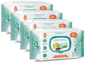 Buddsbuddy Combo of 4 Cucumber Based Skincare Baby Wet Wipes - 80 pcs