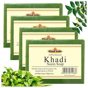 byPurenaturals Khadi Neem Soap 125g (Pack of 4)