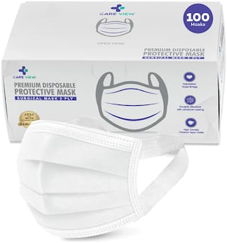 Care View 3 Ply Disposable Face Mask Box with FABRIC Earloop , Certified by BFE>99% and PFE > 95%, SITRA, DRDO, ISO and CE (Pack of 100, WHITE)