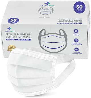 Care View 3 Ply Disposable Face Mask Box with FABRIC Earloop , Certified by BFE>99% and PFE > 95%, SITRA, DRDO, ISO and CE (Pack of 50, WHITE)