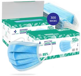 CARE VIEW Model No. CV2992, 3 Ply (Pack of 300) SITRA Approved Disposable Surgical Face Mask With Built in Metal Nose Pin (Medical Blue), free size