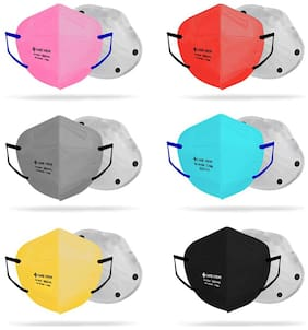 CARE VIEW Model CV1221 Ear Loop Style (Set of 6) (Black, Grey, Yellow, Pink, Red and Blue) with Nose Bridge Sponge N-95 Protective Face Mask with 6 Layered Filtration (2 Melt Blown Layers)