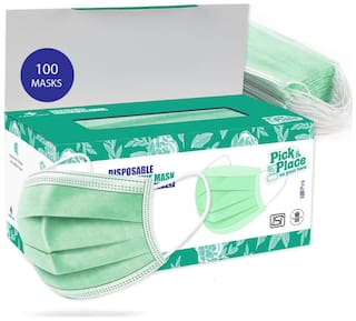 CARE VIEW Nonwoven Fabric Disposable Surgical Face Mask with Built in Metal Nose Pin (Medical Green,Pack of 100) for Unisex, free size