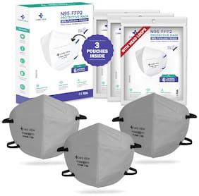 CareviewTM N95 | FFP2 CV1221H HEADLOOP Grey Colour (Pack of 3);FDA;DRDO & CE Certified Face Mask