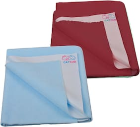 CATCUB - Water Proof and Reusable Bed Protector/Mat/Absorbent Dry Sheets - Combo Pack of 2 (100cm X 70cm, Medium)(Sky Blue II Maroon)