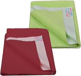CATCUB - Water Proof and Reusable Bed Protector/Mat/Absorbent Dry Sheets - Combo Pack of 2 (70cm X 50cm, Small)(Green II Maroon)
