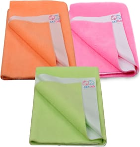 CATCUB - Water Proof and Reusable Bed Protector/Mat/Absorbent Dry Sheets - Combo Pack of 3 (70cm X 50cm, Small)( Pink II Green II Orange)