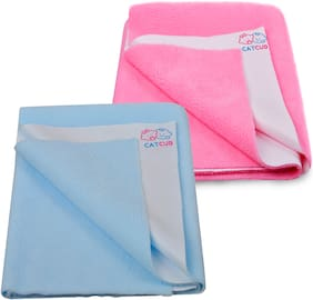 CATCUB - Water Proof and Reusable Bed Protector/Mat/Absorbent Dry Sheets - Combo Pack of 2 (70cm X 50cm, Small)( Pink II Sky Blue)