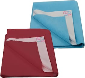 CATCUB - Water Proof and Reusable Bed Protector/Mat/Absorbent Dry Sheets - Combo Pack of 2 (70cm X 50cm, Small)(Blue II Maroon)