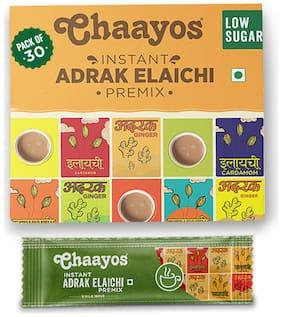 Chaayos Instant Tea Premix - Adrak Elaichi - Low Sugar - 30 Sachets (Pack Of 1)