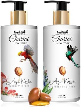Chariot New York Argan & Keratin Vegan Shampoo 300 ml and Conditioner 300 ml Pack of 2