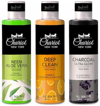 Chariot New York Neem Aloe Vera Face Wash (120 ml) And Deep Clean Vitamin C Face Wash (120 ml) Charcoal Ultra Glow Face Wash (120 ml)(Pack of 3)
