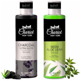 Chariot New York Charcoal Ultra Glow Face Wash (120 ml) And Neem & Aloe Vera Face Wash (120 ml) (Pack of 2)