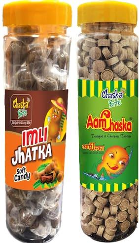 Chaska Bite|Aam Chaska|Imli Jhatka|Imli Pop|Sour and Tangy Candies|Dry Amchoor|Tamarind|Pack of 2|400 gm Each