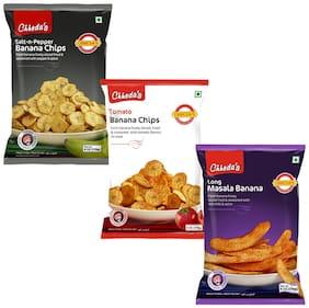 Chheda's Banana Salt & Paper Chips 170 g, Banana Tomato Chips 170 g, Banana Masala Chips 170 g (Pack of 3)