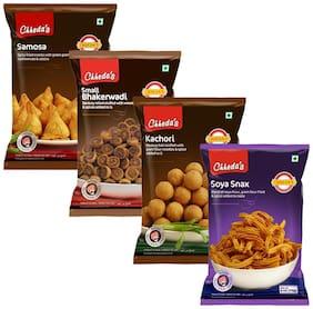Chheda's Samosa 170gm, Small Bhakarwadi 170gm, Kachori 170gm, Soya Snacks 170gm (Pack of 4)
