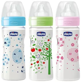 Chicco 150 ml Well - Being Feeding Bottle (Pack of 3) - 150 ml (Blue Pink Green)