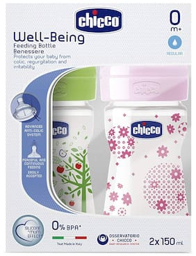 Chicco 150 ml Well - Being Feeding Bottle (Pack of 2) - 150 ml (Green Pink)