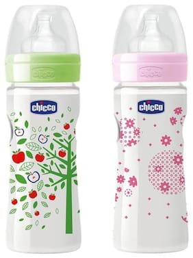 Chicco 250 ml Well - Being Feeding Bottle (Pack of 2) - 250 ml (Green Pink)