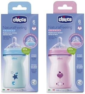 Chicco 330 ml Natural Feeling Feeding Bottle (Blue And Pink)