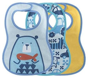 Chicco Baby Bib With Velcro - For Boys, 6m+ 3 pcs