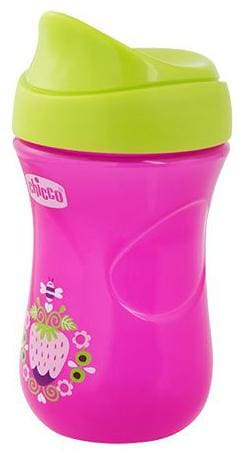 Chicco Baby Sipper Cup With Green Cap - Pink, 12 M+ 266 ml