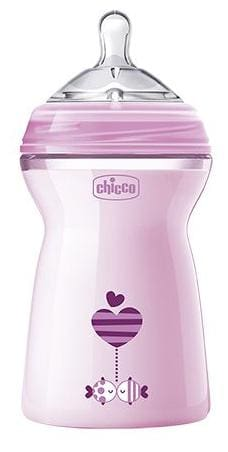 Chicco Baby Feeding Bottle With Twin Anti Colic System - Pink, 6m+ 330 ml