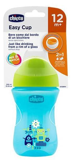 Chicco Baby Sipper Bottle With Green Cap - Blue, 12m+ 266 ml