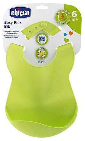 Chicco Baby Washable Bib With Crumb Catcher - Green  6m+ 1 pc