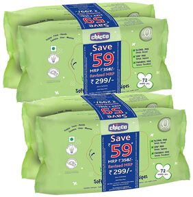 Chicco Baby Wipes 72 (Pack of 4)