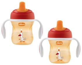 Chicco Training Sipper Cup 200 ml (6 Months) (Orange) (Pack of 2)