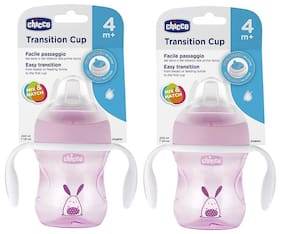 Chicco Transition Sipper Cup 200 ml (4 Months) (Pink) (Pack of 2)