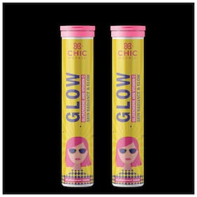 Chicnutrix Glow - Japanese Glutathione and Vitamin C For Skin Glow and Radiance - 20 Tablets Effervescent - Strawberry & Lemon Flavour(Pack of 2)