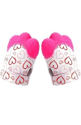 Childchic Baby Teething Mitten/Soft Food-Grade Silicone Teether Mitten Gloves (1PAIR/PINK)