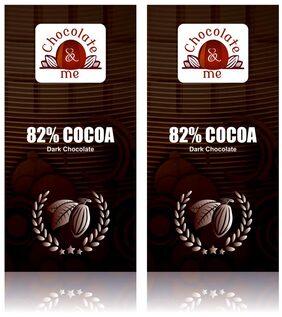 Chocolate & Me : 82% Cocoa Dark Chocolate, 180 Grams (Pack Of 2)