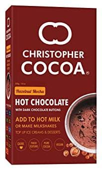 Christopher Cocoa Hazelnut Mocha Hot Drinking Chocolate with Dark Chocolate Buttons 200g (Drink Hot or Cold Milk Shake)