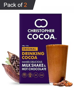 Christopher Cocoa Drinking Chocolate Cocoa Powder, Dark No Sugar 100g (Pack of 2)