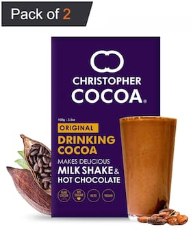Christopher Cocoa Dark Cocoa Powder Unsweetened 100g (Bake Cake Hot Chocolate Drinking Shakes)(Pack of 2)
