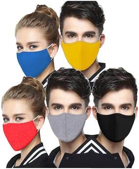Chrome & Coral Pack of 5 Super Soft Branded Premium Quality 3 Layer Washable & Reusable Mask With Non Woven Middle Layer Multi Cllor