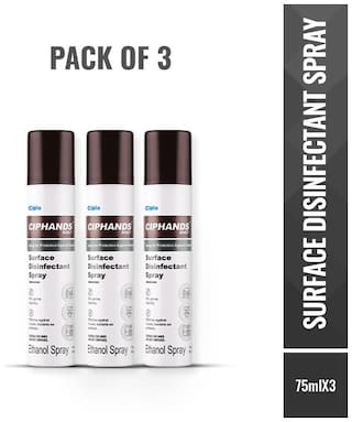 Cipla Ciphands Surface Disinfectant Spray - 75 ml (Pack of 3)