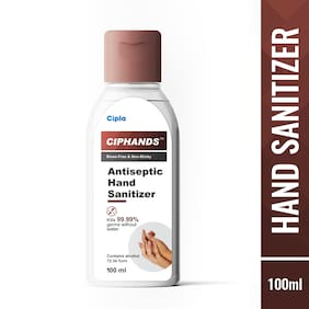 Cipla ciphands (Antiseptic Hand Sanitizer), 72% alcohol 100 ml - (Pack 4)